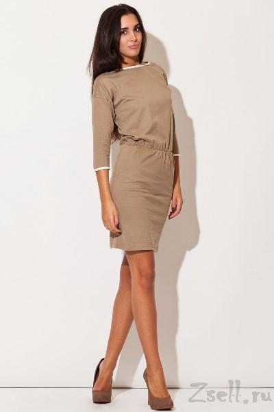 836a7e2f64b Трикотажное платье бежевое купить недорого в интернет магазине