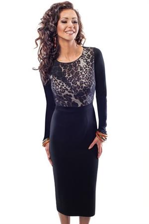 Прямое платье с длинным рукавом - фото 10238