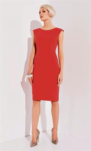 Приталенное красное платье - фото 10312