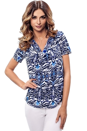 Синяя блуза с орнаментом - фото 10584