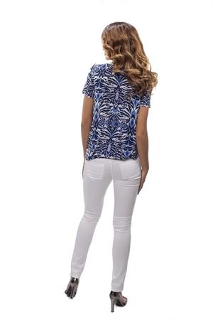Синяя блуза с орнаментом - фото 10736