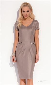 Строгое платье-футляр ZAPS бежевого цвета - фото 11045
