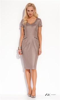 Строгое платье-футляр ZAPS бежевого цвета - фото 11046