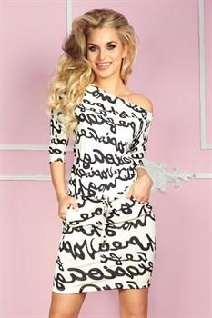 Трикотажное платье с поясом - фото 11061