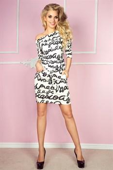 Трикотажное платье с поясом - фото 11062