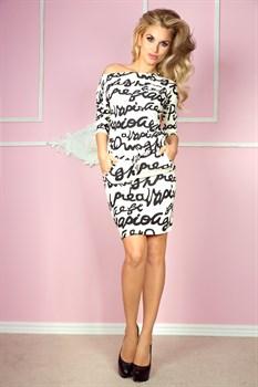Трикотажное платье с поясом - фото 11063
