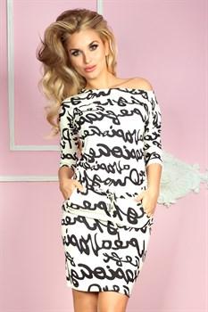 Трикотажное платье с поясом - фото 11064