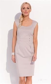 Элегантное светло-серое приталенное платье Zaps - фото 11336