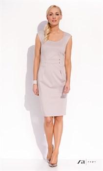Элегантное светло-серое приталенное платье Zaps - фото 11337