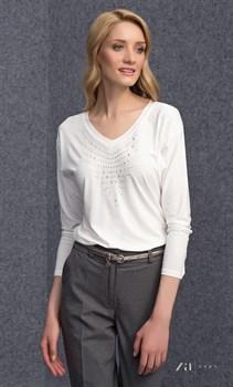 Стильная Белая блуза с V образным вырезом Запс - фото 11545