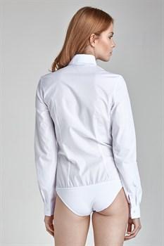 Рубашка боди белая с длинным рукавом - фото 11907