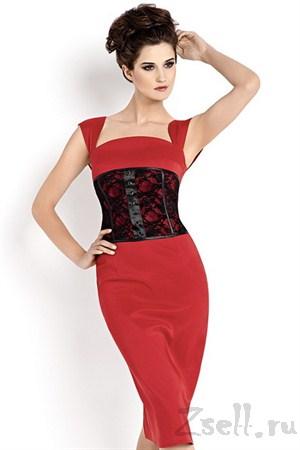 Платье футляр с кружевным корсетом - фото 92