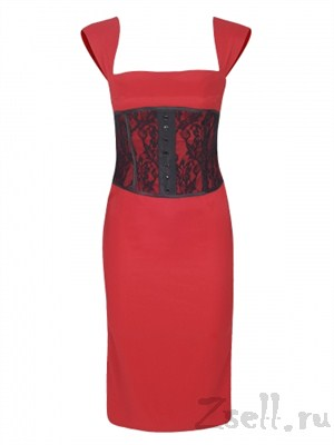 Платье футляр с кружевным корсетом - фото 93