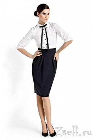 Платье для офиса двухцветное - фото 192