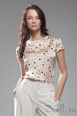 Блуза в горох с коротким рукавом - фото 218
