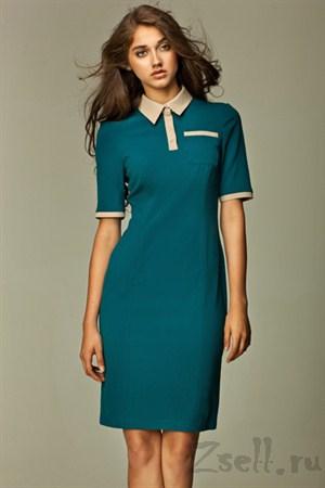 Повседневное  платье для модниц лазурь - фото 308