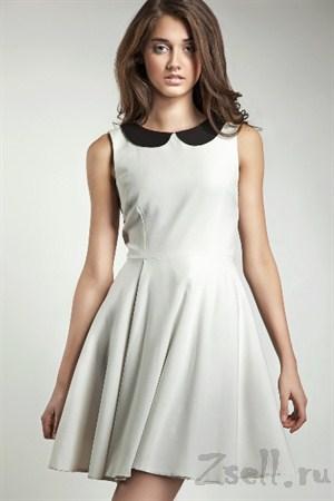 Повседневное платье А силуэта голубое - фото 311