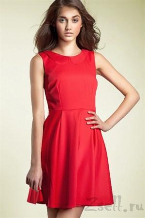 Повседневное платье А силуэта красное - фото 314