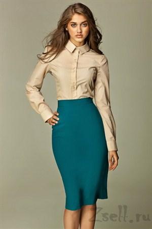Прямая юбка длины миди, цвета лазурь - фото 353