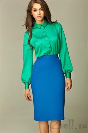 Прямая юбка длины миди, цвета лазурь - фото 354