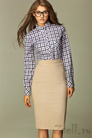 Прямая юбка длины миди, цвета лазурь - фото 355