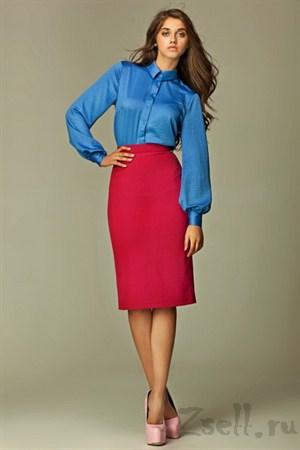 Прямая юбка длины миди, цвета лазурь - фото 356