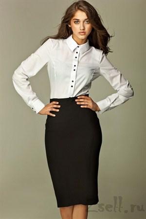 Прямая юбка длины миди, цвета лазурь - фото 357