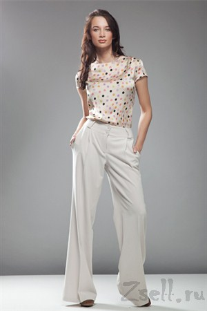 Стильные широкие брюки, цвет белый крем - фото 373