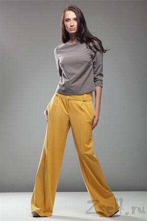 Стильные широкие брюки, цвет белый крем - фото 375