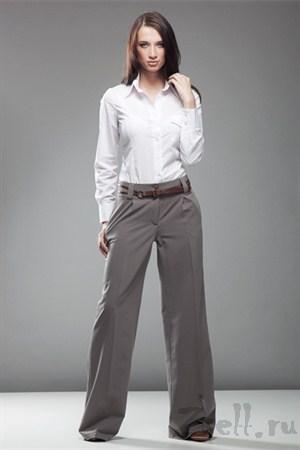 Стильные широкие брюки, цвет белый крем - фото 377