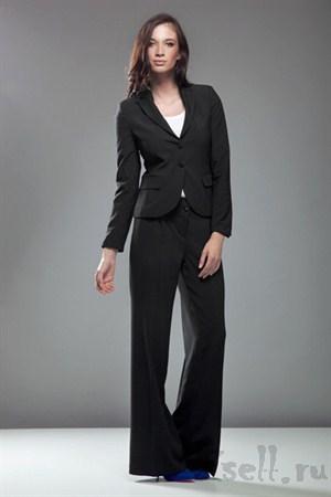 Стильные широкие брюки, цвет черный - фото 378