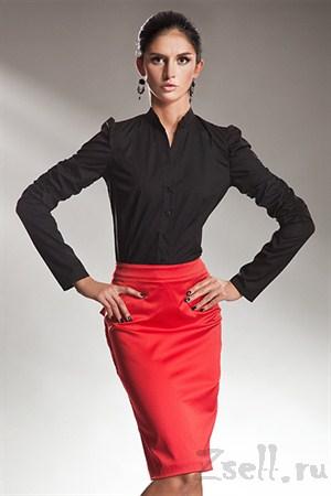 Атласная юбка-карандаш красная - фото 402