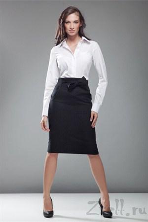 Черная юбка карандаш с бантом - фото 445