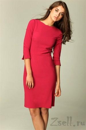Строгое платье футляр цвета бордо - фото 482