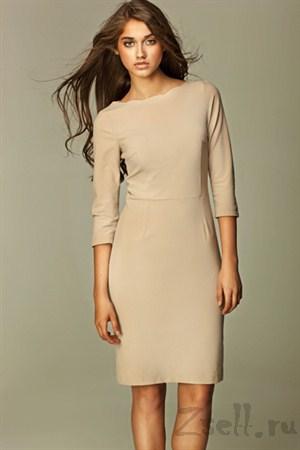 Строгое платье футляр цвета бордо - фото 483