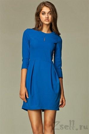 Платье тюльпан синее на каждый день - фото 489