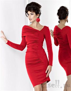 Платье с драпировкой, фиолетового цвета - фото 498