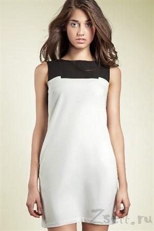 Платье-туника мини, белая - фото 557