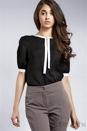 Белая блуза с рукавами фонариками - фото 609