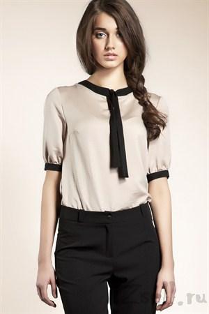 Белая блуза с рукавами фонариками - фото 612