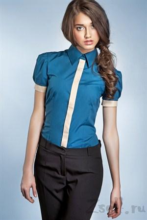 Рубашка цвета лазурь, с рукавами фонариками - фото 663