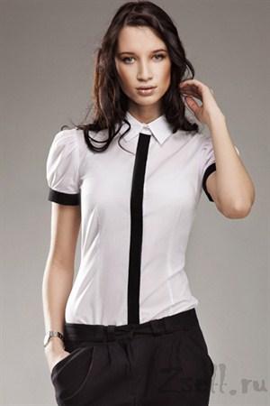 Рубашка цвета лазурь, с рукавами фонариками - фото 664