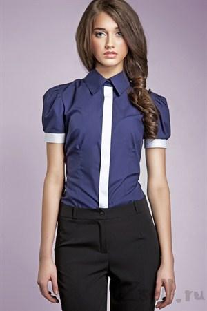 Рубашка цвета лазурь, с рукавами фонариками - фото 666