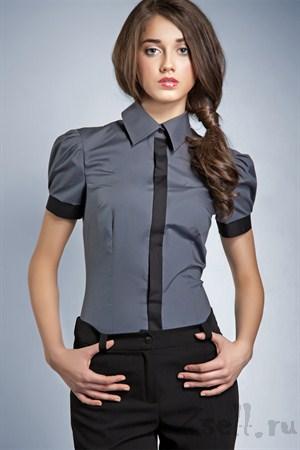 Серая рубашка с рукавами фонариками - фото 669
