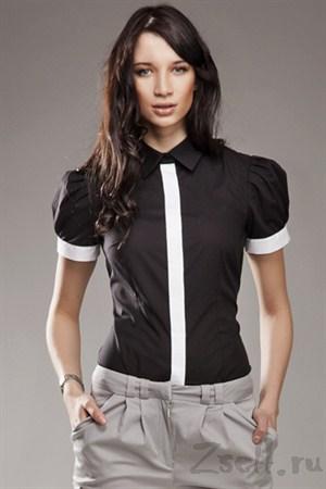 Серая рубашка с рукавами фонариками - фото 673