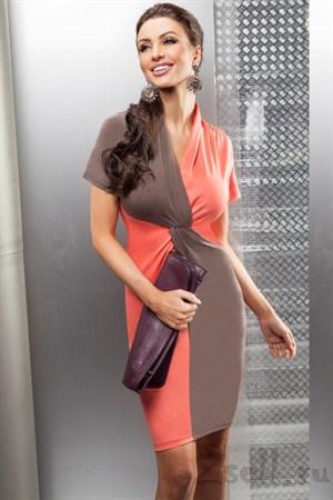 Яркое двухцветное платье - фото 980