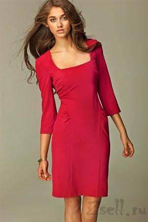 Повседневное платье с драпировкой-лазурь - фото 1246