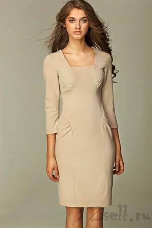 Повседневное платье с драпировкой-лазурь - фото 1247