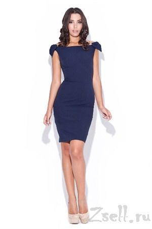 Кокетливое темно синее платье - фото 1435