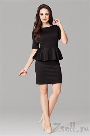 Черное платье с баской - фото 1482